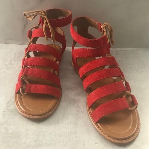 Frye Shoes - Frye Blair Side Ghillie Gladiator Red Sandals 6.5